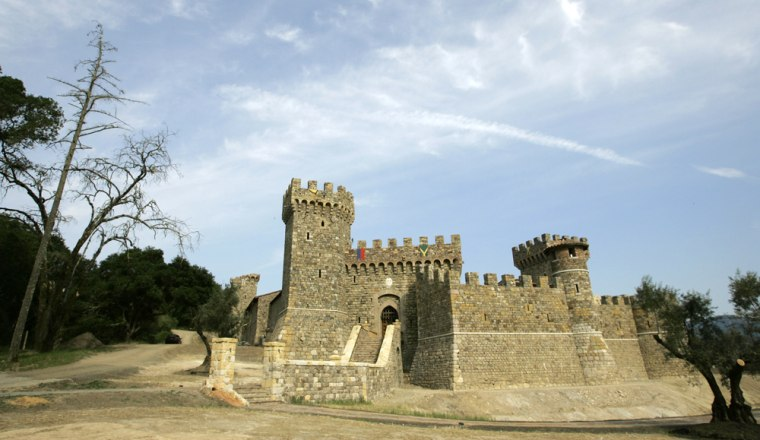 The facade of the Castello di Amorosa is seen in Calistoga, Calif. Daryl Sattuiisking of a wine country castle—complete with drawbridge, dungeons and nifty little slots for the old boiling oil trick.
