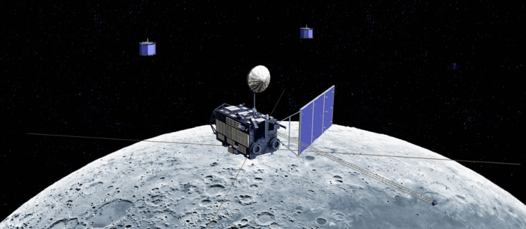 Japan claims its first lunar probe, illustrated here, is the biggest since the Apollo missions put the first humans on the moon. China, hoping to pave the way for its own manned missions, says its probes will study the lunar surface to help plan a landing. But the big question right now is not about science — it's who will get there first.