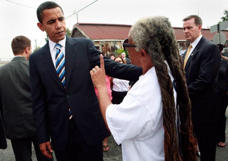 US Senator Obama speaks with activist in New Orleans