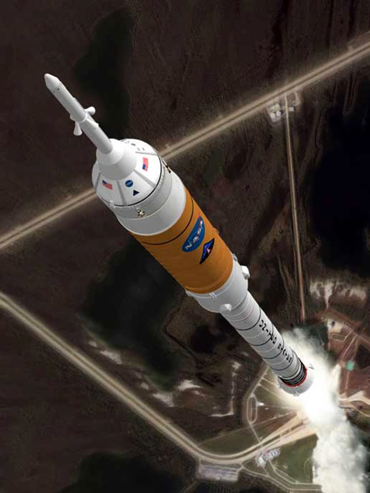 An artist's conception shows NASA's Ares 1 rocket ascending from its launch pad. The upper stage is the orange part of the rocket, above the first stage and below the Orion crew capsule.