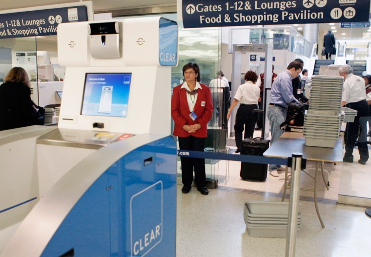 A Clear Registered Traveler scanner kiosk is on display at a TSA checkpoint during a demonstration in the British Airways terminal of New York's Kennedy Airport, onJan. 16, 2007.