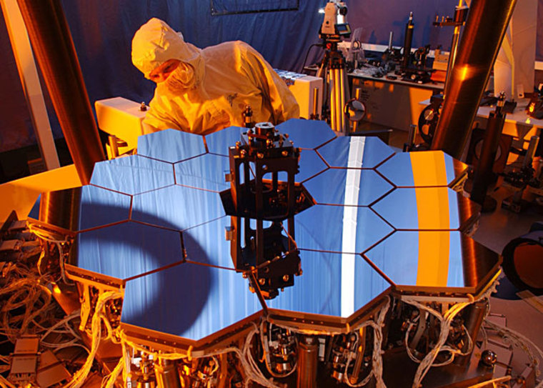 """Through a process called """"wavefront sensing and control,"""" or WFSC, software aboard the James Webb Space Telescope will compute the best position for each of 18 mirrors and one secondary mirror, and then adjust the positions. Engineers used a 1/6 scale model to test the WFSC software."""