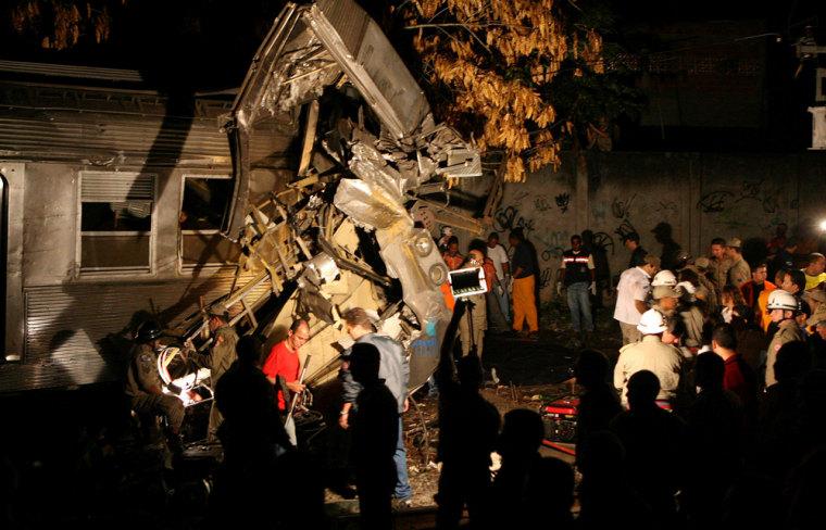 View of the crash site at the Austin station in the Brazilian city of Nova Iguazu, a suburb of Rio de Janiero