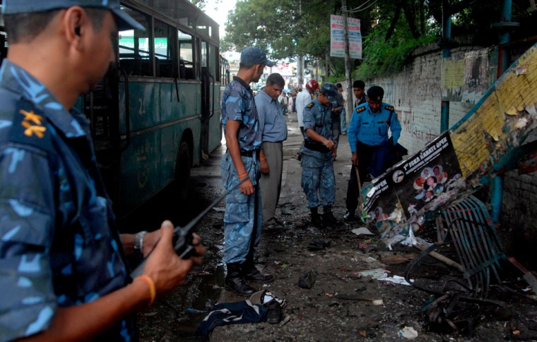 Bomb blast in front of Bishwa Niketan high school in Kathmandu