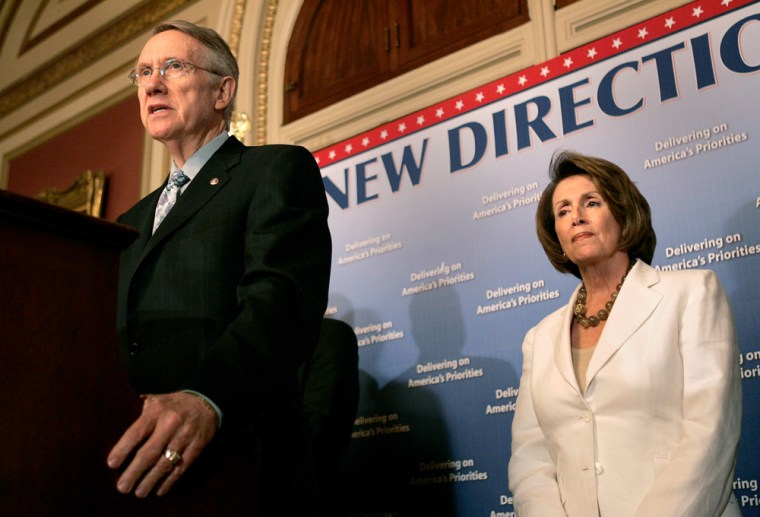Speaker of the U.S. House of Representatives Nancy Pelosi of California and Senate Majority Leader Harry Reid of Nevada speak at a news conference on Capitol Hill