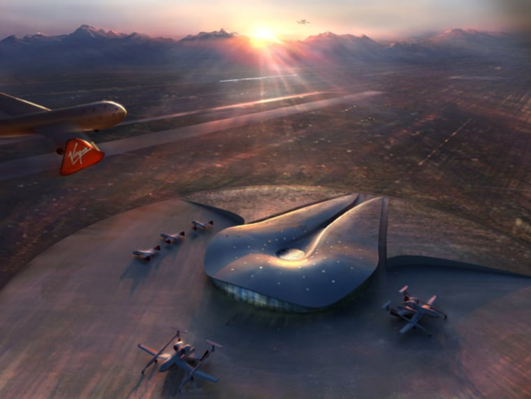 An artist's conception shows a fleet of suborbital spaceships at Spaceport America in New Mexico.