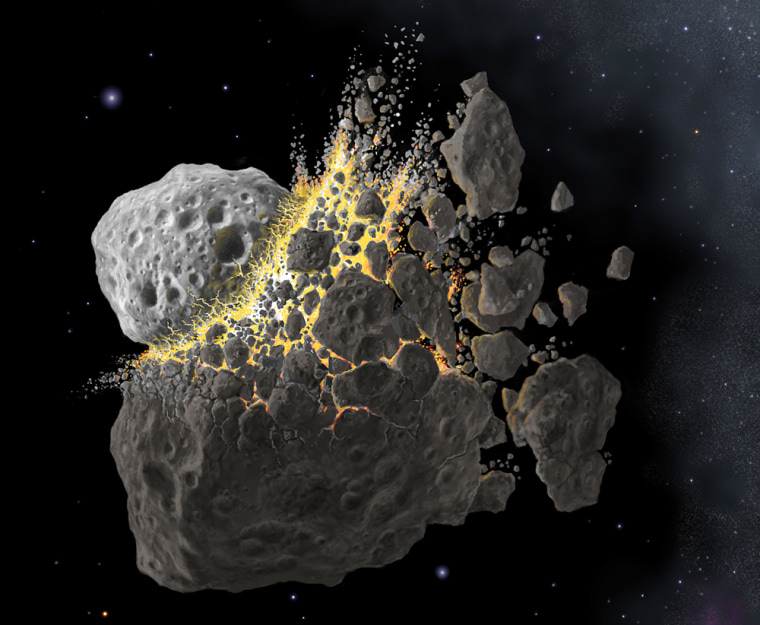 When two ancient asteroids collided,they sent a space rock flying toward Earth — and killed the dinosaurs.