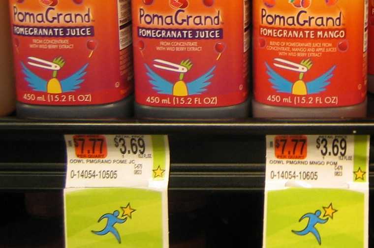 Juices that received one star on the Guiding Stars system, because of high sugar content, are seen at a Hannaford Supermarket location in Latham, N.Y.