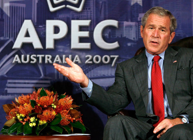 U.S. President W. Bush speaks  at the APEC meeting in Sydney