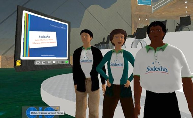 Food-service firm Sodexho was part of a virtual job fair held recently on the Web community Second Life.
