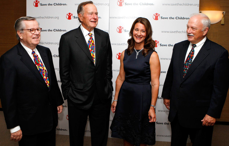 MacCormack, president and CEO of Save the Children, and Daly, board member of the organization, welcome honorees Melinda Gates and former U.S. President Bush to the NGO's 75th anniversary celebration at Lincoln Center in New York