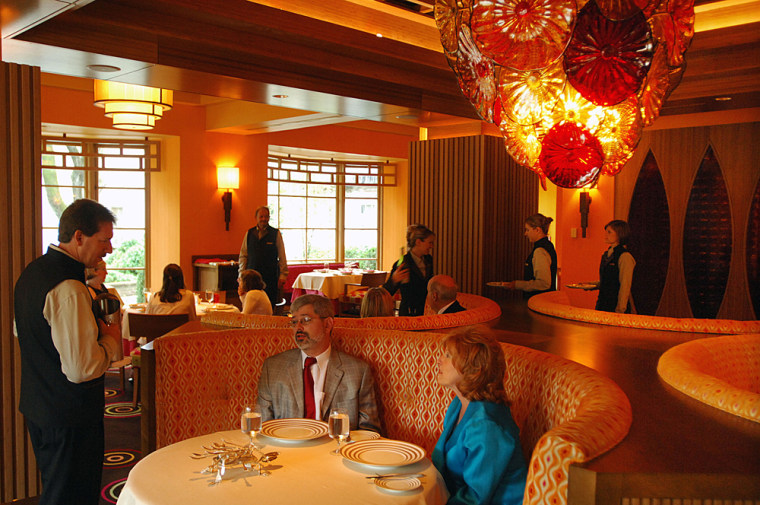 Guests dine at the new restaurant Hemisphere at The Greenbrier resort and spa, in White Sulphur Springs, W.Va.