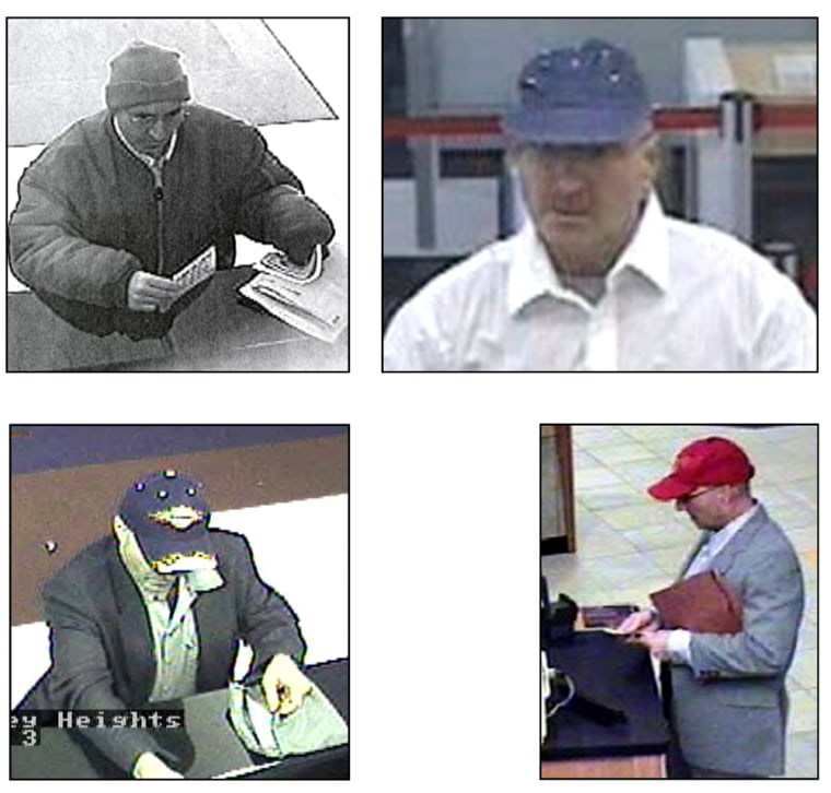 """James G. Madison'sbalding head was covered by a succession of hats during robberies, earning him the nicknames """"Mad Hatter"""" and """"Hat Bandit."""""""