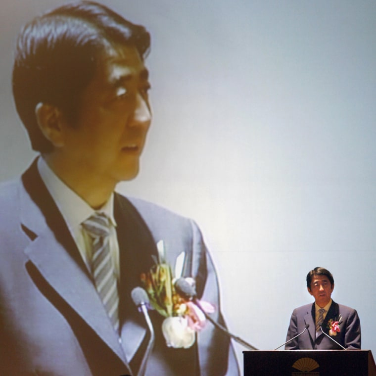 Japanese Prime Minister Shinzo Abe deliv