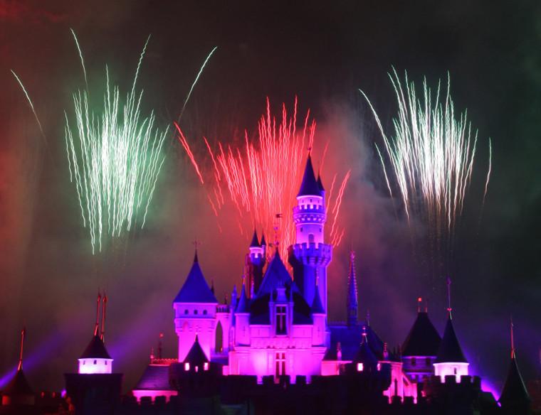 Fireworks explode over the Sleeping Beauty Castle at Hong Kong Disneyland