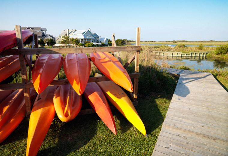 Stored Kayaks at Boardwalk