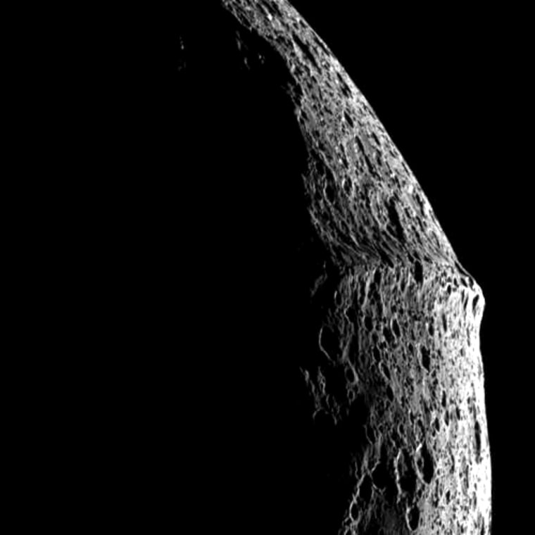 A picture sent back by the Cassini orbiter provides a profile view of Iapetus, a Saturnian moon with a ridge that makes the celestial object look like a walnut.