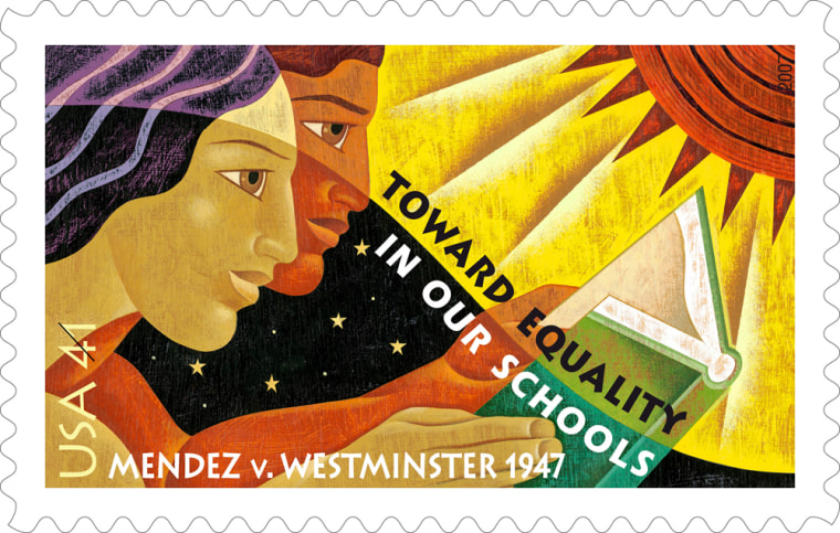 A new 41-cent postage stamp, to be released Friday in Santa Ana, Calif., commemorates the 1946 court decision, Mendez v. Westminster School District, which paved the way for the nation's school desegregation.