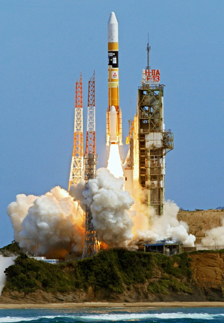 A JapaneseH-2A rocket lifts off from the Tanegashima Space Center, carrying Japan's first lunar orbiter into space on Friday.