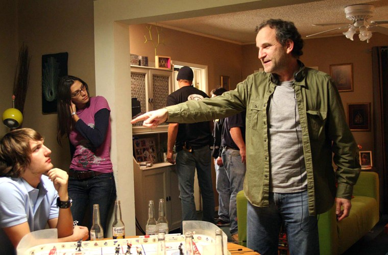 """Photo shows actors Scott Michael Foster, left, as Jed Berland and Michelle Lombardo, center, as Debra Locatelli and director/writer/co-creator Marshall Herskovitz in a scene from """"Quarterlife,"""" during the shooting of the pilot in Los Angeles."""