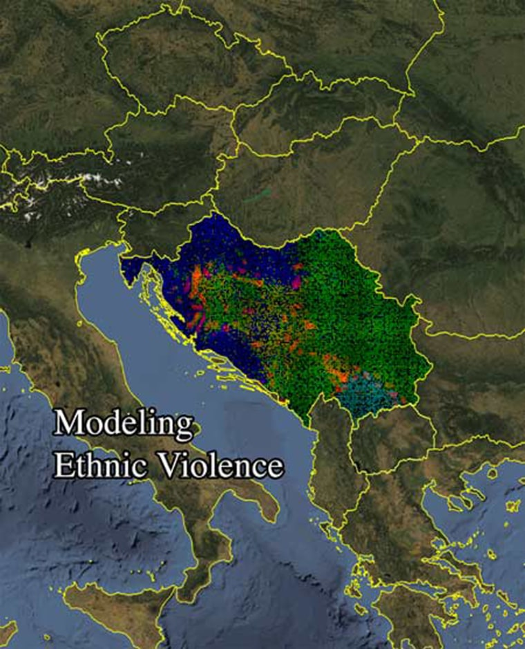 Experts predicted ethnic violence in the former Yugoslavia, red areas,using amodel based on the population distribution of ethnic groups in 1991.