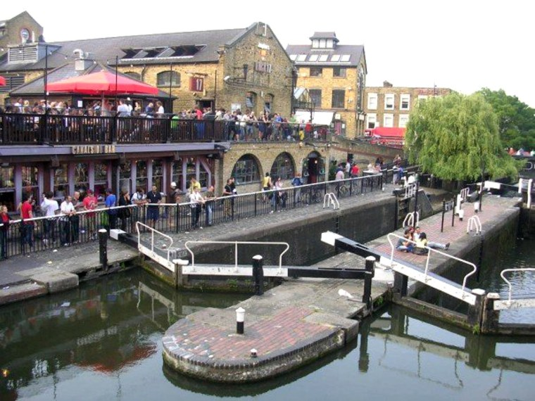 The market, bars and restaurantsat Camden Lock, north London, are popular with tourists and locals alike.