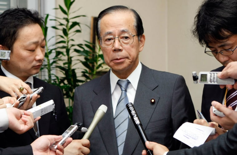 Former Chief Cabinet Secretary Yasuo Fukuda speaks to reporters at his office in Tokyo