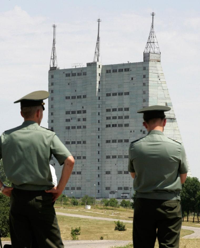 Russian soldiers stand near the Qabala radar station northwest of Baku