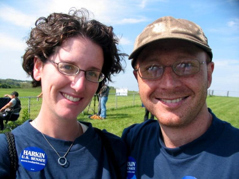 Jen and Levi van Oort, from Clarence, Iowa trekked to Sen. Tom Harkin's steak fry Sunday to cheer their favorite presidential contender, Sen. Barack Obama