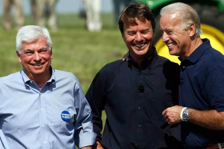 Democratic Presidential candidates share a laugh during the 30th annual Harkin Steak Fry in Indianola