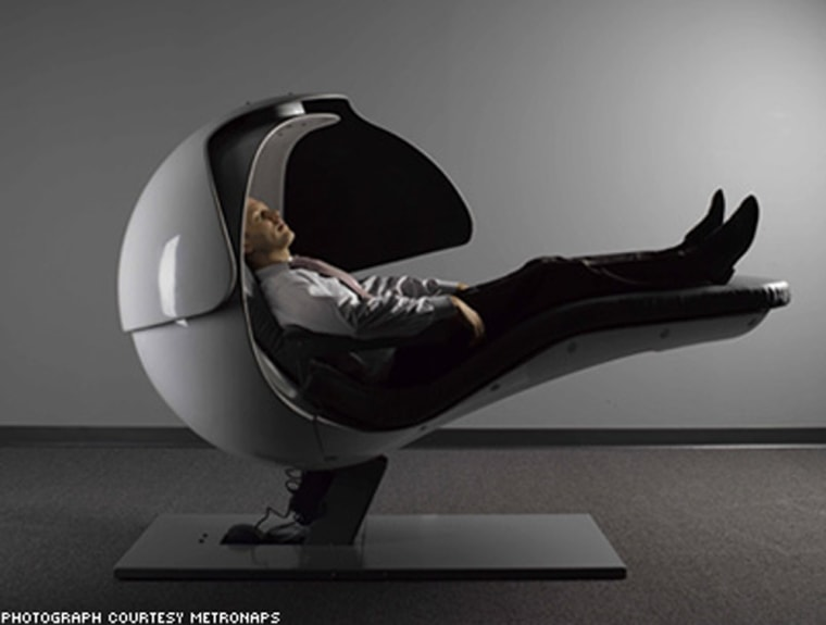 If you start feeling drowsy at work, you don't have to sleep on your hard desk anymore. More companies are offering napping devices like this onefor you at work.