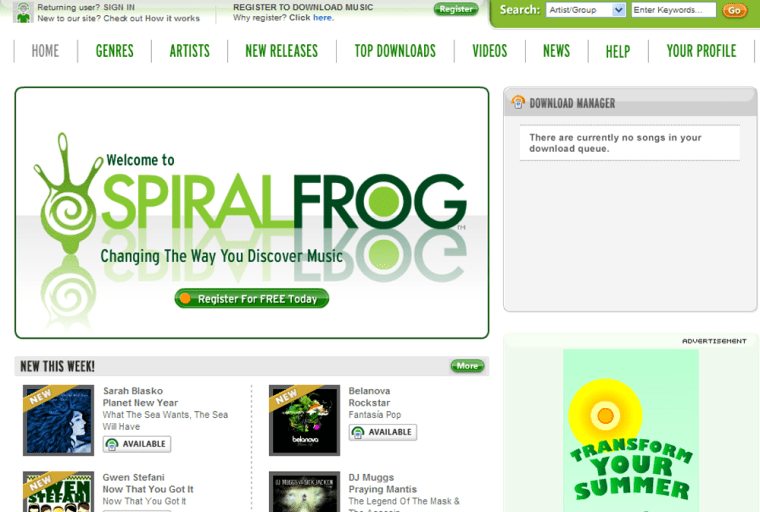 Screen grab of the SprialFrog.com We page.