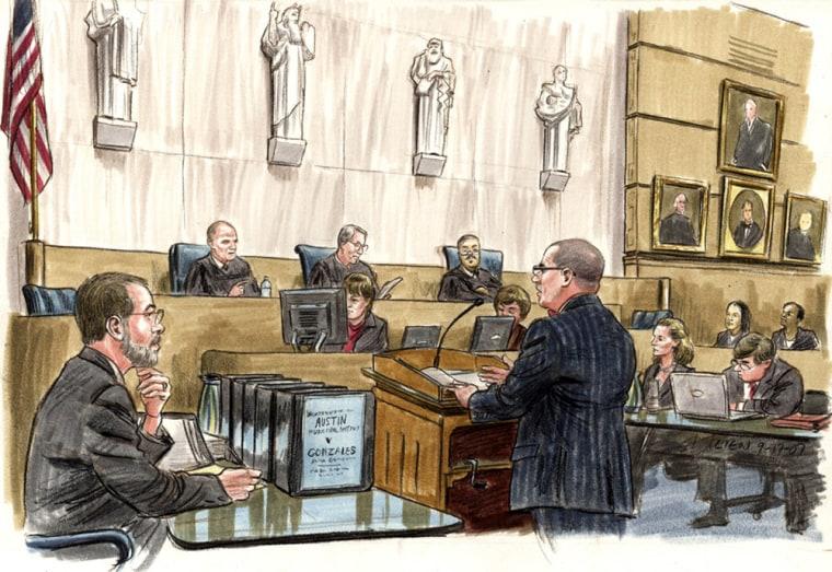Chris Ward, a lawyer for the plaintiff Northeast Austin Municipal Utility District #1, argues, Monday, before Circuit Judge Tatel and District Judges Friedman and Sullivan.