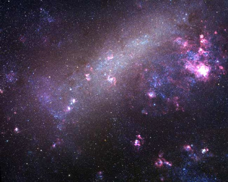 An image showing the Large Magellanic Cloud, one of the Milky Way's nearest galactic neighbors.