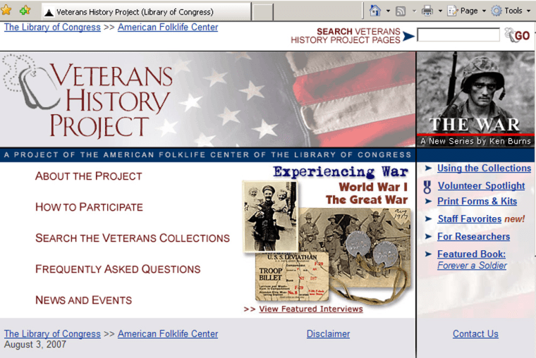 The Web home page of the Veterans History Project.
