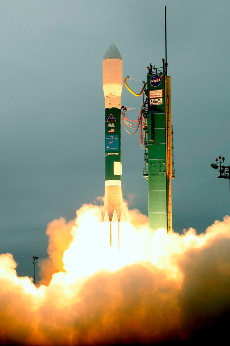 A Delta II rocket carrying the WorldView-1 satellite is launched at Vandenberg Air Force Base, California