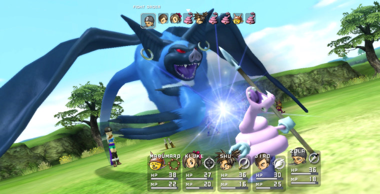 Heroes attack their enemies in turn-based battles with the titular blue dragons.