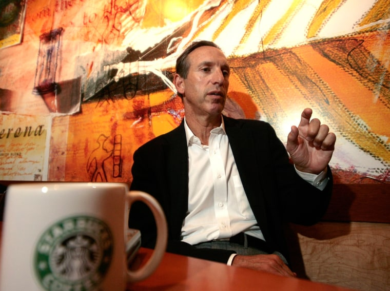 Starbucks's chairman Howard Schultz speaks during an interview with Reuters in Mexico City