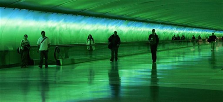 Accompanied by a light and music show, travelers walk through the 685-feet-long underground tunnel from Detroit Metropolitan Airport's main terminal to the airport's McNamara Terminal. The son-et-lumiere effects are meant to soothe and calm passengers. They might also be fun to watch for a while if you've got plenty of time before your next flight.