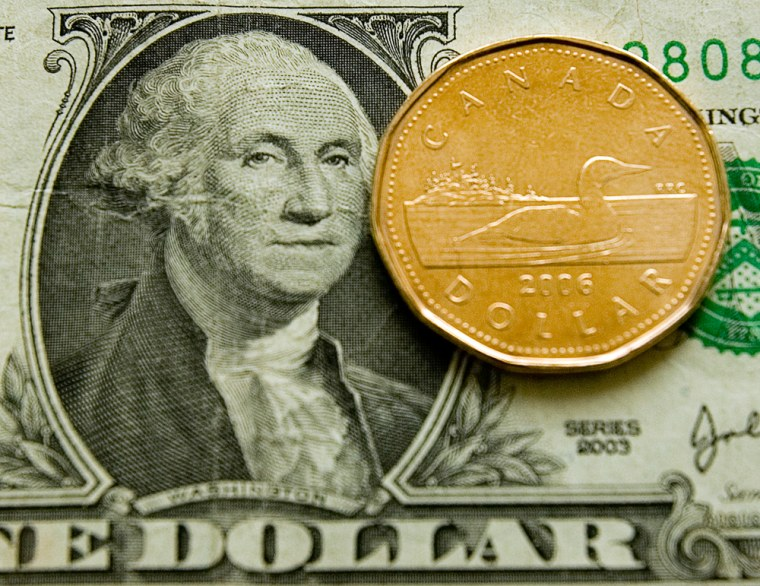 The loonie, the Canadian dollar,moved decisively above 99 U.S. cents, flirting with one-to-one parity with the American dollar for the first time since November 1976.