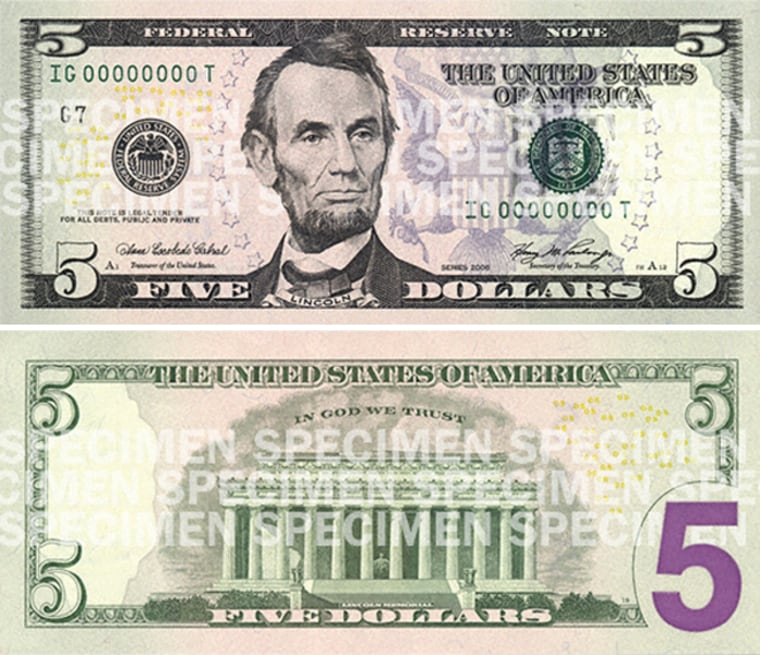 The $5 bill featuring Civil War President Abraham Lincoln will be livened up with purples and grays.