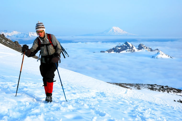 Hike to Washington's 14,411-foot Mt. Ranier with I'm In's! Hearty Hiker Girls' Mountaineering Adventure. Don't worry too much about preparation. In addition to a four-hour warm-up hike, day one includes a stop to stock up on provisions at a general store in Ashford Wash. As for the main event, trek the Disappointment Cleaver Trail —an imposing summit where people have diedtrying — and that makes success all the more worthy an endeavor.