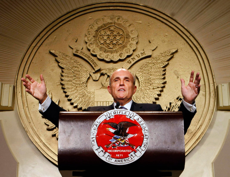 Former New York Mayor Rudy Giuliani delivers remarks to the National Rifle Association on Friday.