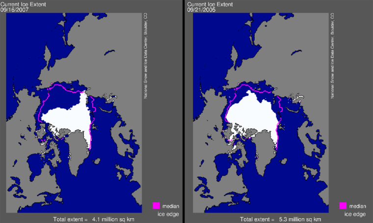 The illustration at left shows the extent of Arctic sea ice on Sept. 16. The one on the right is the extent on the previous record low, set on Sept. 21, 2005.