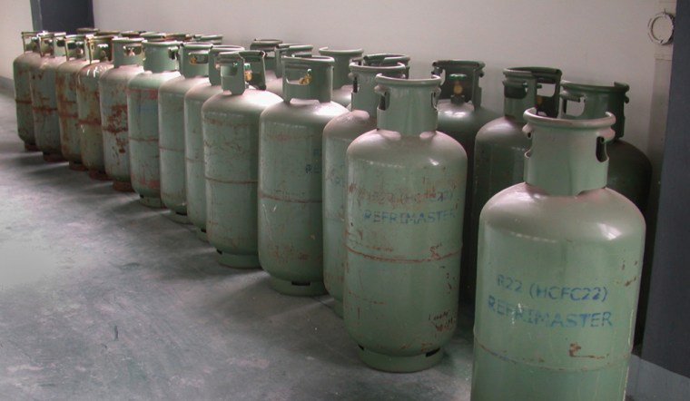 Hydrochloroflurocarbons, or HCFCs, are seen ina facility operated by the Ningbo Koman Refrigeration Industry Co., Ltd., in China's Zhejiang province, in Nov. 2005.