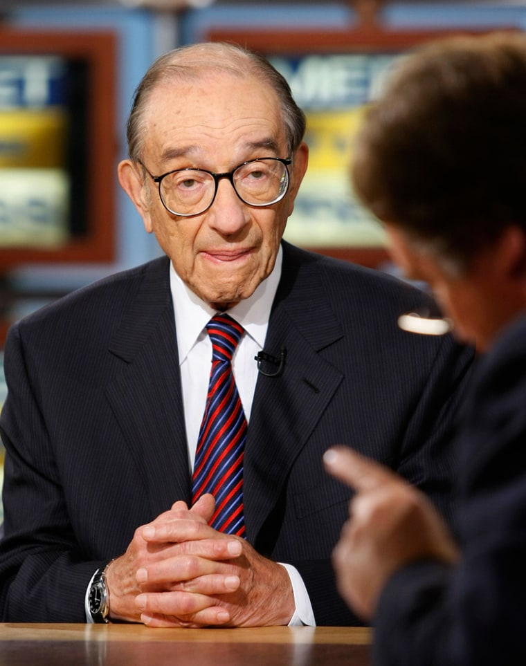 """Former Chairman of the U.S. Federal Reserve Greenspan speaks during a taping of the \""""Take Two\"""" segment of \""""Meet the Press\"""" in Washington"""