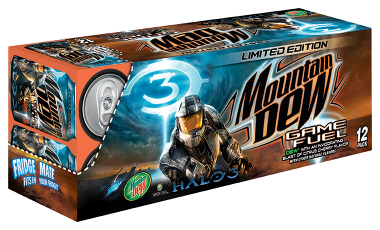 """Mountain Dew rolled out Game Fuel, a special """"Halo 3""""-themed beverage, in the run-up to the game's launch."""