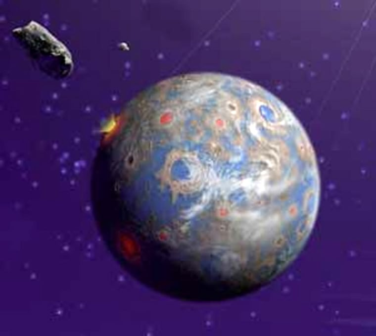 An artist's concept of an Earth-like planet orbiting another star.