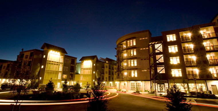 An evening view of the newly-built MorningStar Lodge condominiums at the Silver Mountain ski resort in Kellogg, Idaho. The once-heavily-polluted mining community has been transformed into a swanky ski resort with newcomers flocking to buy condos and open businesses.