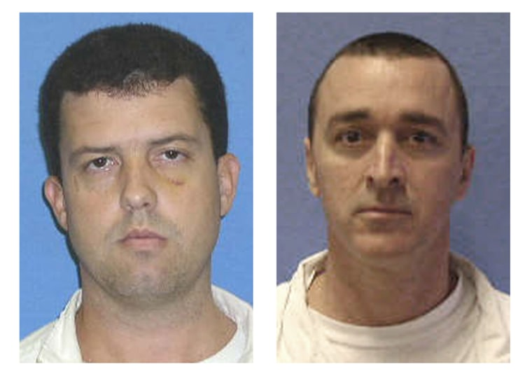 Jerry Martin, left,and John Ray Falk were classified as minimum security inmates and assigned to do field work outside the prison under the supervision of officers. They escaped from police custody briefly on Monday.